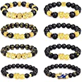 CASSIECA 8Pcs Feng Shui Bracelet Braccialetti Ossidiana per Uomo Donna Feng Shui Black Obsidian Bracelet Feng Shui Pixiu Brac