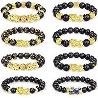 CASSIECA 8Pcs Feng Shui Bracelet Braccialetti Ossidiana per Uomo Donna Feng Shui Black Obsidian Bracelet Feng Shui Pixiu…