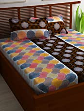 Story@Home 100% Cotton Bed Sheet for Double Bed with 2 Pillow Covers Set, Candy Queen Size Bedsheet Series, 120 TC, Geometric Circles Pattern, Brown