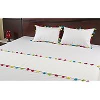 M.G.B. Multi Tassel Cotton Bed Runner and Cushion Set (White)