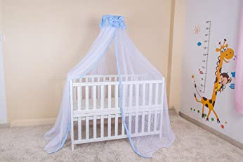 Kiddale Mosquito Net With Stand(3 Position Adjustable Heights) To Fix On Baby Crib, Bed Or Cot (Blue)