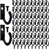 100 stuks wandhaken, kledinghaken en 110 stuks schroeven om op te hangen, sleutelhaken, sieraden. zwart