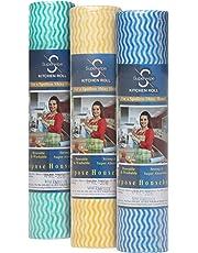 Ginni Kitchen Swipe Rolls Non Woven Fabric 30 X 25 cm Kitchen Tissue/Towel Tissue Roll Reusable & Washable (Multi-Purpose Household Sheets) - 3 Rolls (50 Pulls Per Roll)