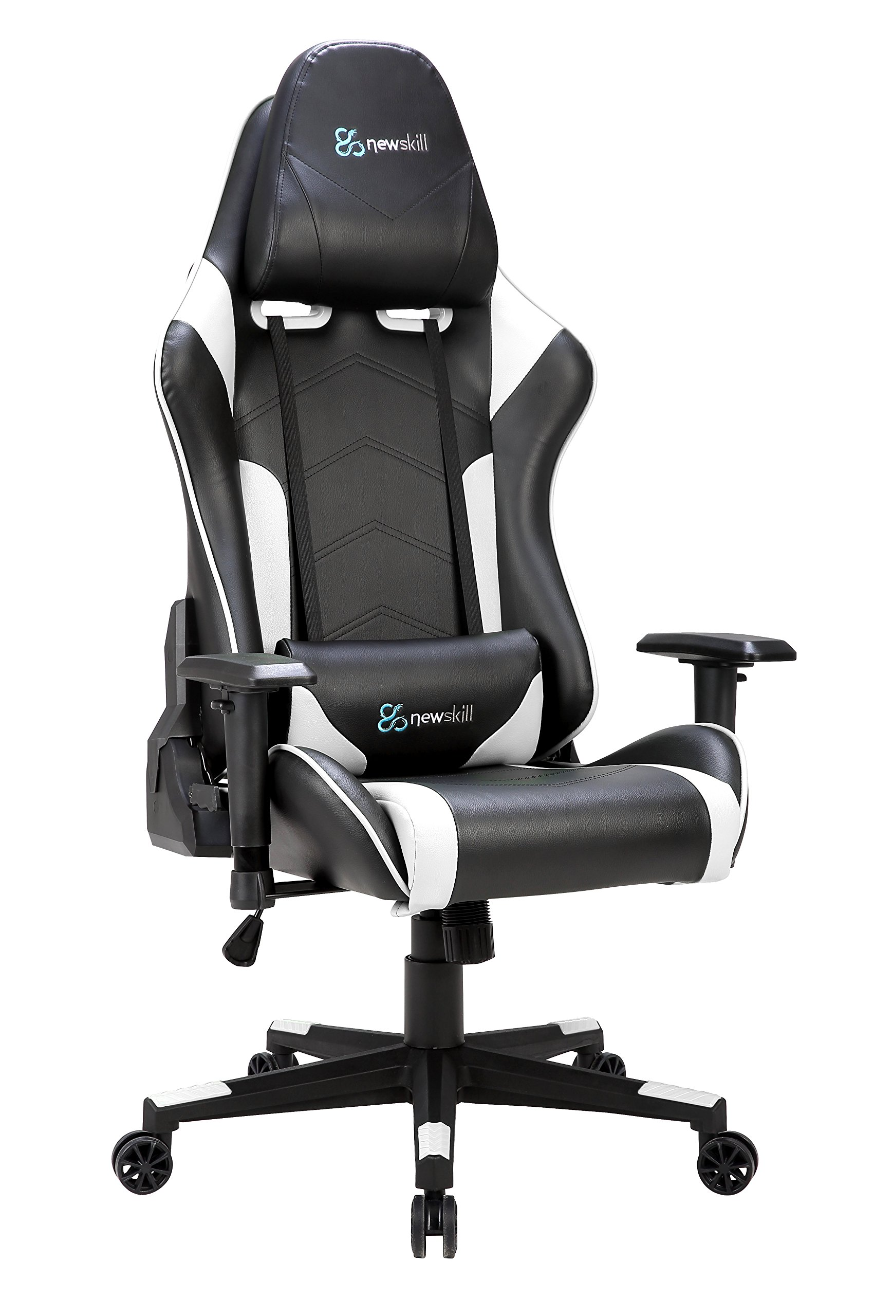 Newskill Kitsune – Silla gaming profesional (Inclinación y altura regulable, reposabrazos 2D ajustables, base en nylon, reclinable 180º), Color Blanca