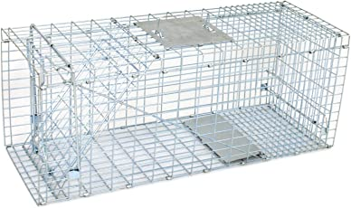 "ZENY Live Animal Cage Trap 32"" X 12.5"" X 12"" Steel Cage Catch Release Humane Rodent Cage for Rabbits, Stray Cat, Squirrel, Raccoon, Mole, Gopher, Chicken, Opossum, Skunk & Chipmunks (32 '')"