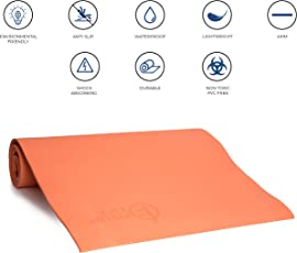Fitup Life 4mm PVC Free, EVA Yoga Mat (Orange or Grey)– Optimal Stability – Longevity – Soft & Firm (Imported)