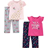 Simple Joys by Carter's Girl's 4-Piece Loose Fit Flame Resistant Polyester Pajama Set