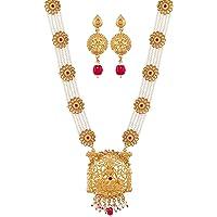 Mansiyaorange Hydrabadi Premium Pearl Multi Colour Long Rani Haar LongNecklace Jewellery/Jualry/Haar For Women