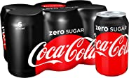 Coca-Cola Zero Sugar Carbonated Soft Drink, Can -330 ml (Pack of 6)