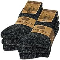 sockenkauf24 6 Paar Norweger Socken mit Wolle in Schwarz, Grau oder Anthrazit Wintersocken Herrensocken - AD220