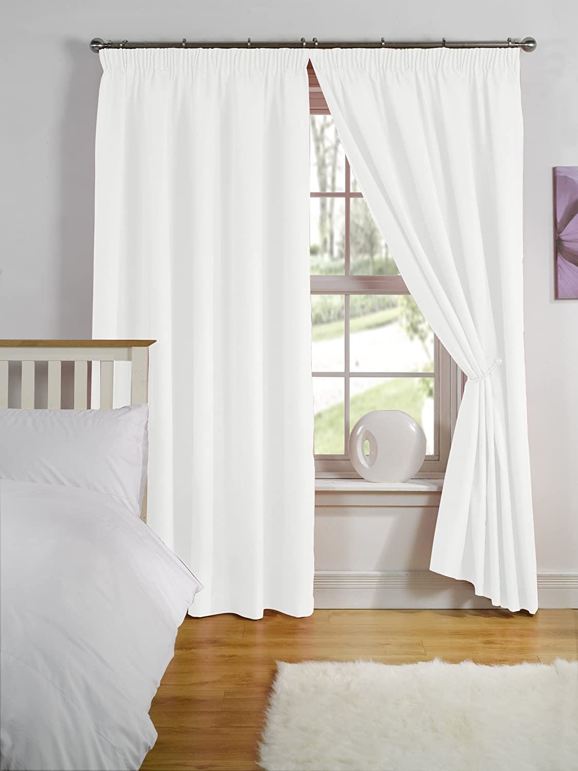 Simply Style White Thermal Backed Readymade Curtain Pair Xin - Ready made curtains white