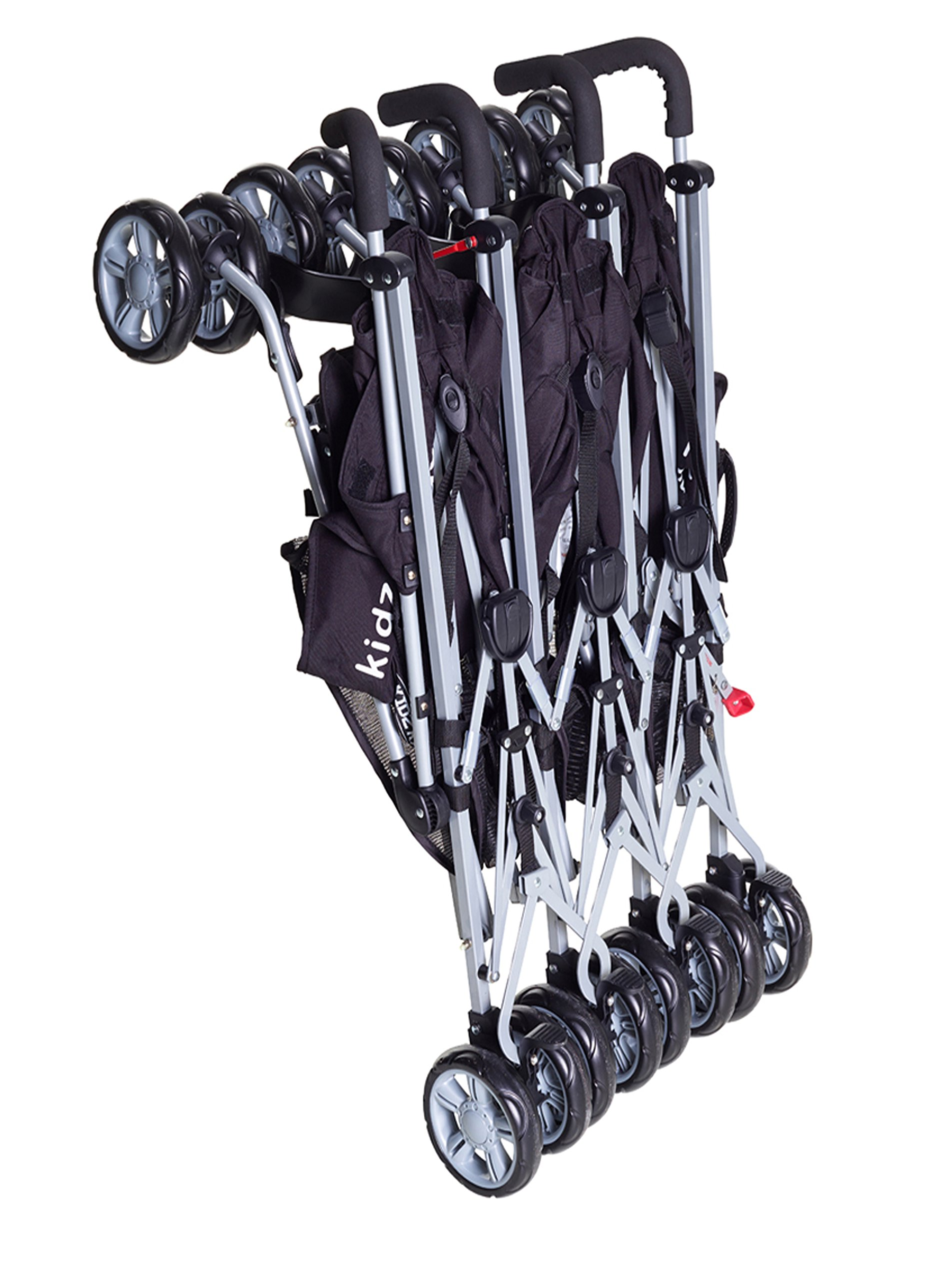 Kids Kargo Triple Pushchair with Raincover & Safety Strap Reflector Strips,Berry Red Kids Kargo  2