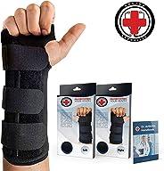 Doctor Developed Carpal Tunnel Wrist Brace Night & Wrist Support & Sleep Brace [Single] (with Splint) & Doctor Written Handbo
