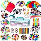kramow Kit Bricolage Enfant, Activites Manuelles pour Enfants, Pompons, Plume, Pipe Cleaners, Perle avec Boîte de Rangement,