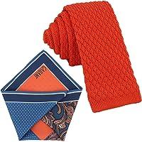 GASSANI Set Cravatta Sottile, a Maglia, Pochette 4 Trame
