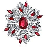 Bling Jewelry Moda Grande Dichiarazione Vintage Stile Blu Rosso Bianco Cristallo Brooch Pin per Donne per Madre Argento Placc