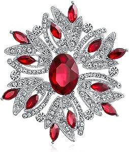 Bling Jewelry Moda Grande Dichiarazione Vintage Stile Blu Rosso Bianco Cristallo Brooch Pin per Donne per Madre Argento Placcato