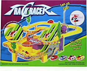 Track Racer Racing Car Set, With Helicopter Battery Operated Musical Kids Game Multi Color