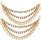 ZENEME Women's Golden Gold Plated Long Hair Chain Jewellery Earring