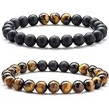 Bracciale pietra occhio di tigre, CNNIK Uomo Donna 8mm Perline Pietra Naturale Yoga Aromaterapia Olio essenziale braccialetto