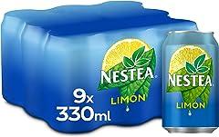 Nestea Té Negro Limón - Refresco de té sin gas, bajo en calorías, Pack 9 latas 330 ml
