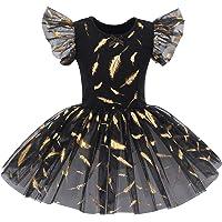IWEMEK Kids Girls Ruffle Sleeve Ballet Dance Dress Glitter Shiny Print Leotard Tutu Skirt Skating Gymnastics One Piece…