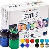 Nevskaya Palitra Decola | Set di colori per tessuti e abbigliamento | pitture permanenti | alta qualità | 12 x 20 ml