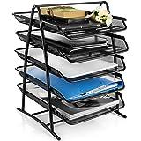 DAHSHA 5 Tier Mesh Metal Desk Organiser File Rack Letter Tray A4 Papers Documents Holder Desk Organizer for Office (35 x 37 x