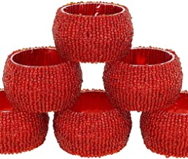 Vdecor Decorative Handmade Beaded Red Round Napkin RingsPerfect for Dining Table Pack of - 4