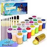 Pintura Acrílica, Gifort 21 x 20 ml Kit de Prima Pintura Acrílica con 10 pinceles, No Tóxicos Disponible para niños, Pigmento