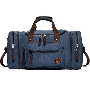 Fresion Unisex Canvas Shoulder Backpack Large Travel Tote Luggage Men s  Weekender Duffle Bag for Women   Men with 44L (Blue) ab02eb0f42