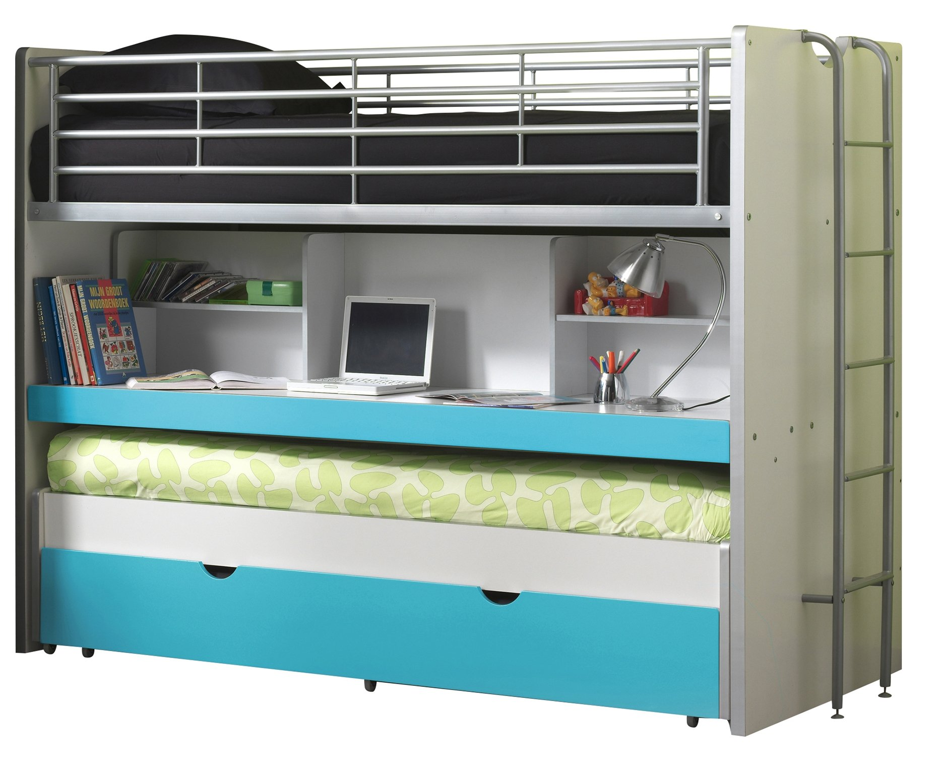 Vipack BOHS8094Bunk Beds Bonny, 207x 116x 98cm, bed 90x 200cm, White/Turquoise Vipack Cabin bed with 2Sleeping surfaces 90x 200cm and 1drawer. Extendable Work Surface. Chipboard White MDF fronts and varnish with fall protection 1