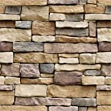 Arabest Stone 3D Wallpaper, Self-Adhesive Wall Sticker Stick On Peel and Stick Backsplash Wall Panel Removable for Home Decor