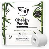 The Cheeky Panda – Papier Toilette en Bambou | Pack de 4 Rouleaux (3 épaisseurs, 200 Feuilles) | Hypoallergénique, sans Plast