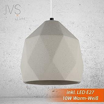 Beton Lampe Leuchte LED E27 Pendel Hnge BOSTON Farbe Hell Vintage Industrieleuchte Wohnzimmerlampe Modern Betonfassung Mit
