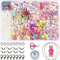 YiRAN Enfants Bricolage Perles Set, 550pcs Perles pour Alphabet Poney pour la Fabrication de Bracelets, Collier, Art…