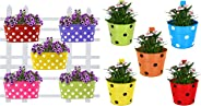 Trust Basket Dotted Oval Railing Planters (Multicolour, Pack of 5) & Trust Basket Single Pot Railing Planter (Multicolour, Pack of 5)