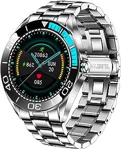 LIGE Montre Connectée Homme,Smartwatch Montre à Ecran Tactile Complet 1,3'', Montre Intelligente IP67 Aacier Inoxydable avec Fréquence Cardiaque Podomètre Chronomètre Fitness Tracker pour Android iOS