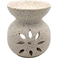 Farkraft Ethnic Ceramic Aroma Diffuser Oil Burner 1 Pcs Free Candles (White)