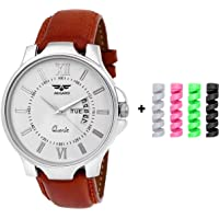 ASGARD Day & Date Feature Analog Multi Color Dial Men's Watch with Freebie USB Spiral Charger Cable Protector