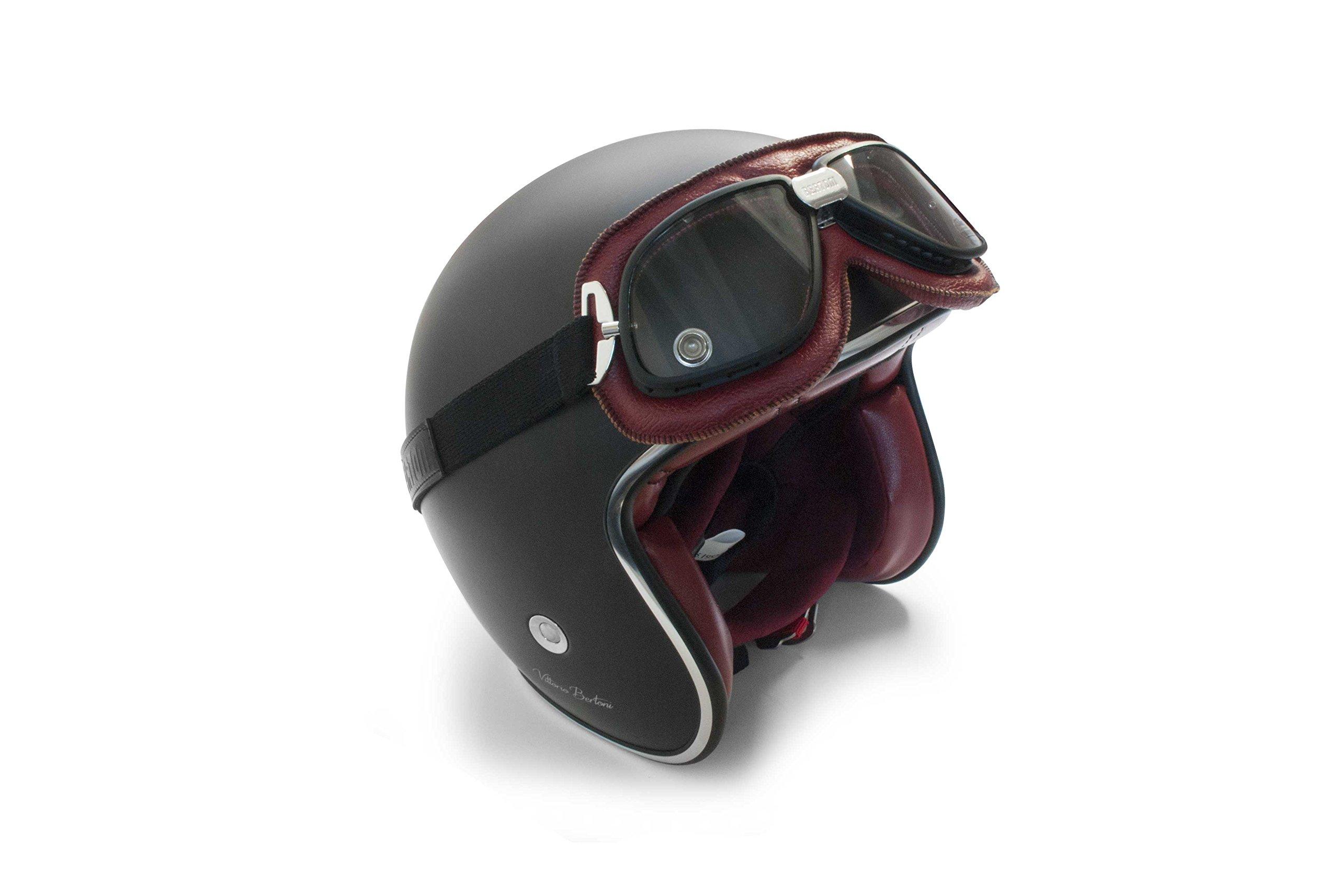 Masque moto aviateur style rétro vintage Bertoni 4