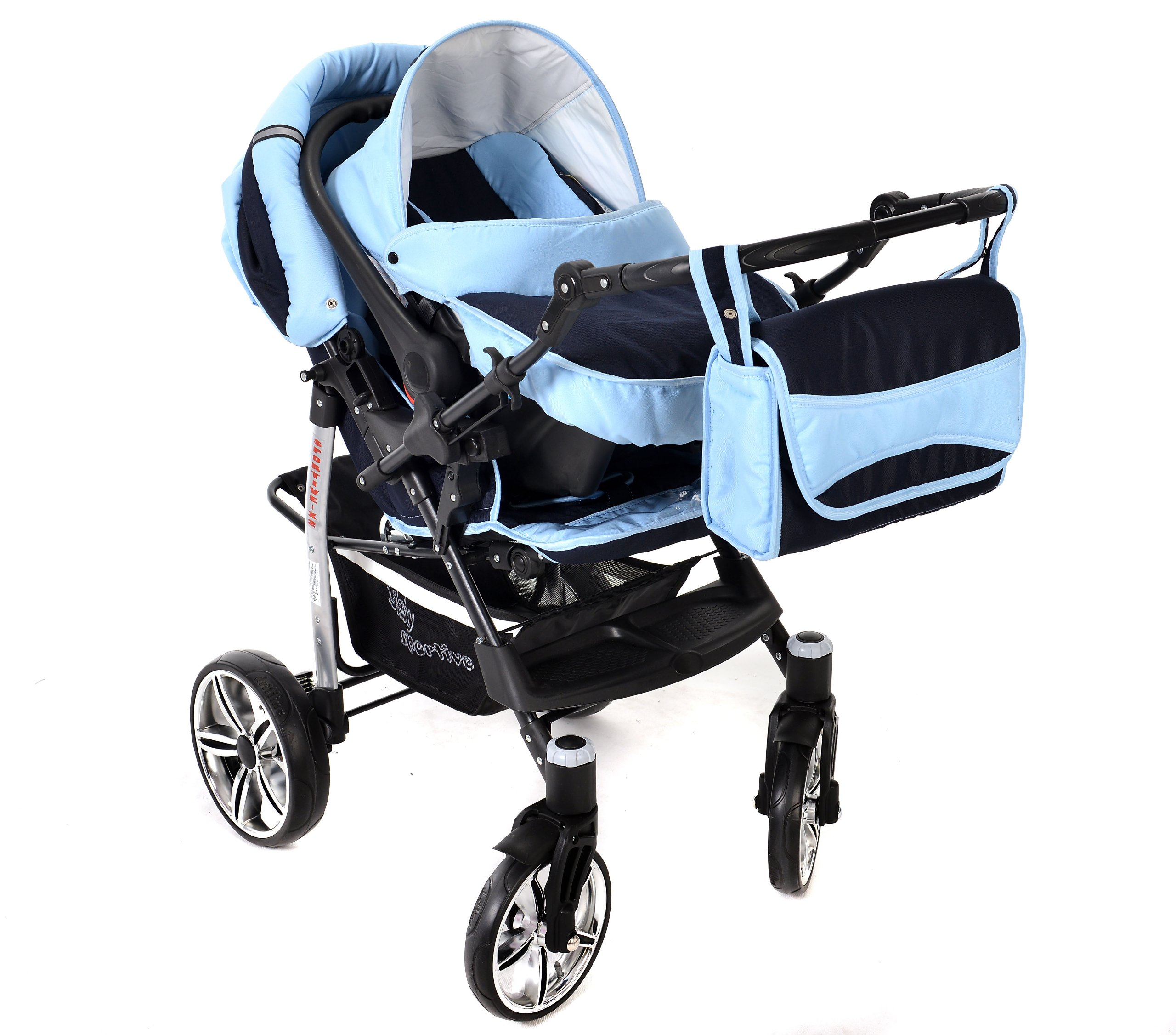 Sportive X2, 3-in-1 Travel System incl. Baby Pram with Swivel Wheels, Car Seat, Pushchair & Accessories (3-in-1 Travel System, Navy-Blue & Blue)  3 in 1 Travel System All in One Set - Pram, Car Carrier Seat and Sport Buggy + Accessories: carrier bag, rain protection, mosquito net, changing mat, removable bottle holder and removable tray for your child's bits and pieces Suitable from birth, Easy Quick Folding System; Large storage basket; Turnable handle bar that allows to face or rear the drive direction; Quick release rear wheels for easy cleaning after muddy walks Front lockable 360o swivel wheels for manoeuvrability , Small sized when folded, fits into many small car trunks, Carry-cot with a removable hood, Reflective elements for better visibility 6