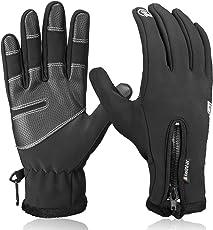 anqier Fahrradhandschuhe Männer Frauen Winter Touchscreen Handschuhe Winddicht Warm Motorrad Handschuhe Gefüttert Laufhandschuhe Camping Wandern Bergsteigen Outdoor Sport Gloves