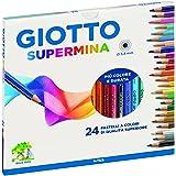 Giotto- Fila Astuccio 24 Supermina Diametro Mina 3,8Mm Pastelli A Matita Gioco 118, Multicolore, 8000825235818