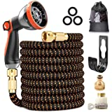"""Expandable Garden Hose, Upgraded 3-Layer Latex Hose Pipe, 3/4""""&1/2"""" Solid Brass Connectors, Durable 3450D Weave, No-Kink Flex"""