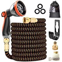 """Expandable Garden Hose, Upgraded 3-Layer Latex Hose Pipe, 3/4""""&1/2"""" Solid Brass Connectors, Durable 3450D Weave, No-Kink…"""