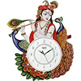 DRC Wooden Antique Lord Krishna with Peacock Feather Designer Wall Clock for Home Study Living Room & Office Decor (12 x 16.5