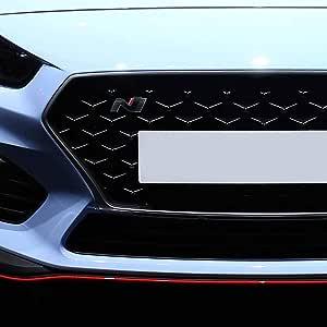 P043 Kühlergrill Emblem Cover N Performance Kühlergrill 2er Set Aufkleber 3m 2080 Car Wrapping Folie Car Styling Dekorset V3 Schwarz Glanz Carbon Rot Auto