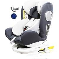 LETTAS Baby Autositz 360° drehbar Gruppe 0+1/2/3 (0-36 kg/0-12 Year) mit Protektoren seitliche Isofix Top Tether ECE R44…