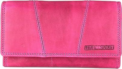 Hill Burry Vintage Leder Damen Geldbörse Portemonnaie blau I braun I grau I grün | rot | schwarz I pink aus weichem Leder - 17,5x10x3cm (B x H x T)